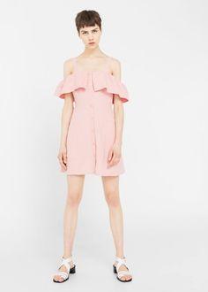 Льняное платье с открытыми плечами | MANGO МАНГО