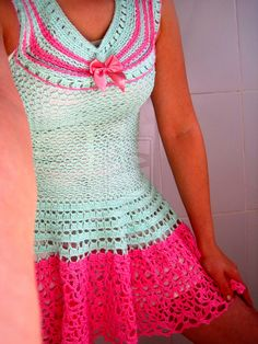 mint pink crochet dress (sailor moon style) by colaresrussos.deviantart.com on @deviantART