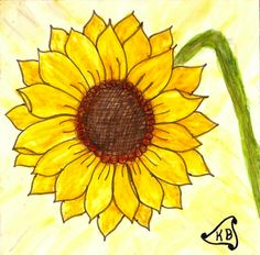 "June 3: Sunflower Derwent Inktense with water on 3.5 x 3.5 ""cardstock"" and then coated with gloss medium."