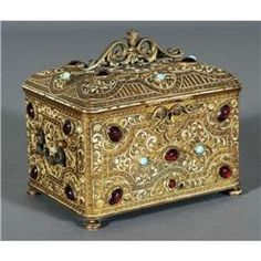 1 MOORISH REVIVAL JEWELRY CASKET encrusted wi
