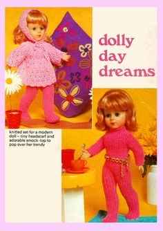 PDF Vintage 1970s Doll Clothes Knitting Pattern DOLLY 1970s Dolls, 1960s, Knitting Patterns, Crochet Patterns, Wardrobe Sets, Baby Doll Toys, Retro Toys, Vintage Knitting, Stuffed Toys Patterns