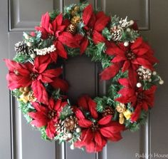 Christmas – DIY Wreath on Door - See more stunning DIY Chrsitmas Wreath ideas at DIYChristmasDecorations.net!
