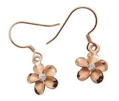 SILVER PINK ROSE GOLD PLATED 925 HAWAIIAN PLUMERIA FLOWER EARRINGS WIRE CZ 10MM