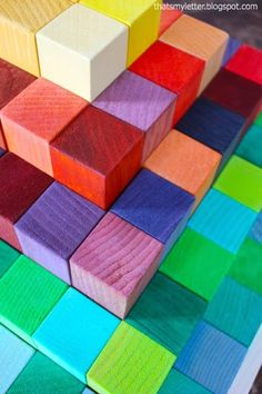 DIY wood block pyramid - use food coloring to get different colors that are food safe!  From Ana-White.com (Diy Food Toys)