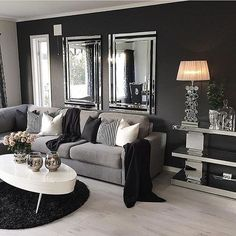 Red black and gray bedroom ideas red black grey living room ideas black living room decor Dark Living Rooms, Living Room Grey, Cozy Living, Home Living Room, Apartment Living, Living Room Designs, Dark Rooms, Black White And Grey Living Room, Small Living