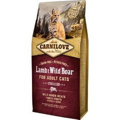 Carnilove Lamb & Wild Boar Adult Cat Food 2kg. Lamb and game are highly digestible dietetic proteins that are ideal for maintaining perfect physical condition in sterilised cats.