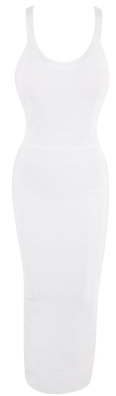 'Lana' White Racerback Bandage Maxi Dress - SALE