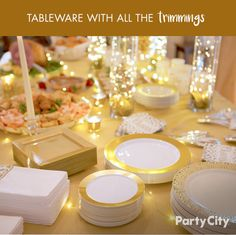 Glow with the Christmas flow! Your holiday dinner should look as good as it tastes – that's where Party City comes in! Our premium tableware comes in an array of colorways, such as Gold Trimmed Cream, Solid Gold, and Cream and Gold Lace Border, as well as festive green and red combos. Accessorize with an accenting tablecloth and some LED fairy lights to tie your elegant event together!
