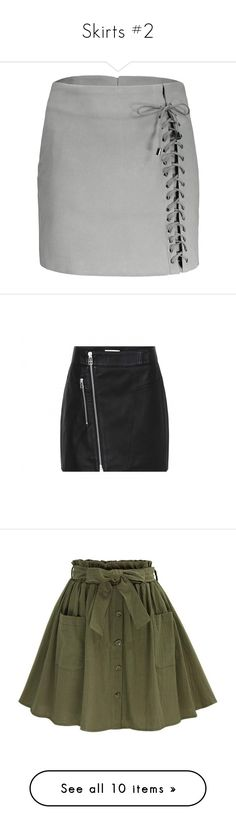 """""""Skirts #2"""" by carlou863 on Polyvore featuring skirts, rosegal, lace up front skirt, faux suede skirt, lace up skirt, green skirt, mini skirts, bottoms, short mini skirts et real leather skirt"""
