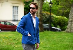 Totally digging the blue. Tommy Ton's Street Style: London: Style: GQ