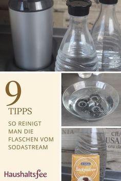 SodaStream Flaschen reinigen mit Hausmitteln wie Backpulver oder Gebissreiniger. Glasflaschen und Kunststofffflaschen.