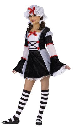 The Rag Darlin large girls costume will make sure that girls of all shapes and sizes have fun on Halloween. This costume for girls includes a dress with a . Teen Girl Costumes, Halloween Costumes For Teens Girls, Halloween Fancy Dress, Children Costumes, Couple Costumes, Disney Costumes, Couple Halloween, Scary Halloween, Halloween Makeup