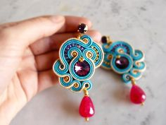 Your place to buy and sell all things handmade Soutache Earrings, Diy Earrings, Earrings Handmade, Handmade Jewelry, Soutache Tutorial, Earring Tutorial, Fabric Origami, Beaded Embroidery, Beaded Jewelry