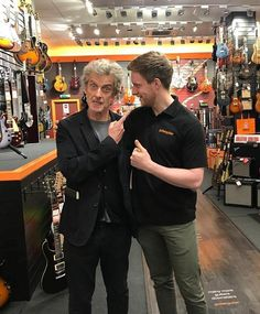 Peter in 'GuitarGuitar' shop Glasgow. Mid Sept.