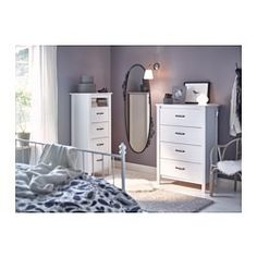 IKEA - BRUSALI, Chest of 4 drawers, white, , Smooth running drawers with pull-out stop.