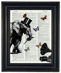 BOGO SALE Dancing Elephant Dictionary Art by HamiltonHousePrints