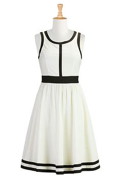 eShakti Contrast banded trim poplin dress