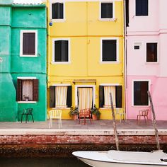 Burano, the kingdom of colors. Are you ready to discover it through the design of Venice chairs? Nashville, Wander, Venice, Architecture, Around The Worlds, Island, City, Design, Indoor Outdoor