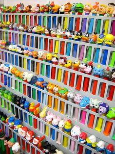 Unusual view of Pez candy dispensers from the Burlingame Museum of PEZ Memorabilia.