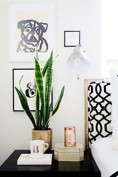 plant on bedside table | Interiors | The Lifestyle Edit