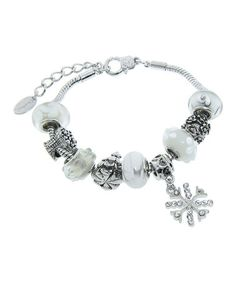 Love this Czech Crystal & Frosted White Charmed Feelings Bracelet on #zulily! #zulilyfinds