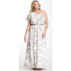 Jessica Simpson Shoulder Printed Maxi Dress White with black and grey print Jessica Simpson Dresses Maxi