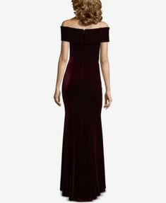 Xscape Off-The-Shoulder Velvet Gown - Purple 14 Velvet Gown, Satin Gown, Petite Gowns, Gowns Online, Review Dresses, Off The Shoulder, Glamour, Formal Dresses, Pretty