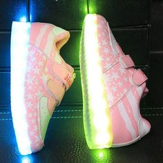 Pink USA Flag LED Light Up Shoes For Kids
