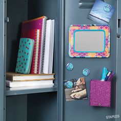Does your locker mirror reflect your personal sense of style? Upgrade your look using Washi tape from Staples. 4th Grade School Supplies, School Supplies Organization, Office Supplies, Locker Designs, Locker Ideas, Cute Locker Decorations, Locker Mirror, School Supply Labels, Back To School Essentials