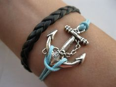 Anchor-antique silver anchor bracelet,anchor pendant,braid leather via Etsy Jewelry Box, Jewelry Accessories, Fashion Accessories, Jewlery, Jewelry Trends, Jewelry Ideas, Anchor Jewelry, Anchor Bracelets, Nautical Bracelet