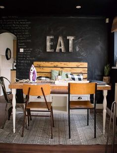 Chalkboard wall in the dining room! And yes sometimes I do iron on the table!