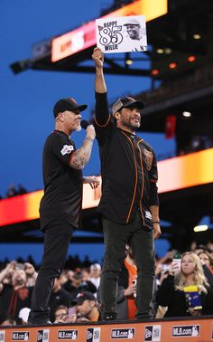 . Metallica guitarist James Hetfield sings happy birthday to Willie Mays as bass guitarist Robert Trujillo holds up a birthday sign while the San Francisco Giants play the Colorado Rockies at AT&T Park in San Francisco, Calif., on Friday, May 6, 2016. (Jim Gensheimer/Bay Area News Group)