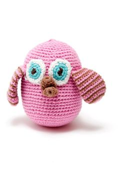Knitted Owl rattle pink or blue - The Supermums Craft Fair