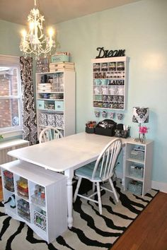 Craft room setup  / table with 2 chairs!     # I love this space