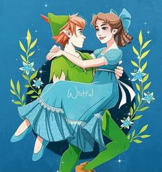 Peter Pan carrying Wendy in his arms
