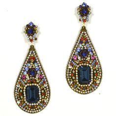 These intricate and superbly crafted DUBLOS earrings are one of the most incredible pieces I have ever seen! The mosaic of colorful strass beads ands stones makes them literally a feast for the eyes.