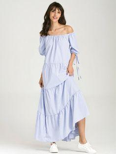 Stripe Off-shoulder Pleated Tie 3/4 Sleeve Maxi Dress For Women