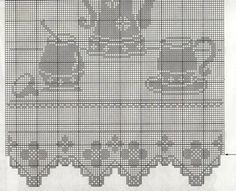 Crochet Curtains, Crochet Tablecloth, Crochet Doilies, Crochet Lace, Crochet Bouquet, Fillet Crochet, Crochet Kitchen, Little Designs, Pixel Art