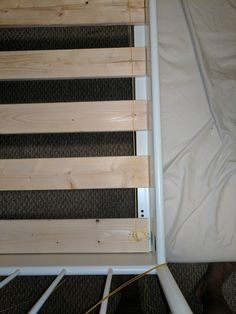 """IKEA Sultan slatted bed base hack...I forgot to purchase for my Leirvik bed.  I went to my  Lowe's, and bought 8- 1x4x8 furring strips for $18.   I made 2 cuts to each board, one 6"""" from the end and one 30"""" from the end, leaving me with 8-60"""" pieces, 8-30"""" pieces and 8-6"""" pieces.  Discard the 6"""" pieces  & place the 8-60"""" pieces in the bed. Make additional 60"""" pieces out of two 30"""" pieces, and placed them between every 2 of the full pieces. Connect with cord & staple gun."""