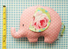 sweet little elephant softie a great item to embroider before cutting fabric pieces.