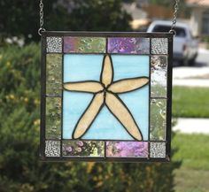 STARFISH - Stained Glass Window Panel with Starfish and Ocean Colors, Aqua Blue #NauticalContemporary
