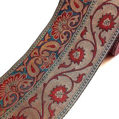 Teal Gold and Red Brocade Border – DesiCrafts Brocades originated from Madras (India) the city of refined chaddhar (shawl) designs.