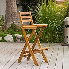 Amazon.com: Folding Outdoor Wood Patio Furniture 30 Inch Bar Height Counter Bar Stools With Backs are a Fun and Functional Addition for Entertaining Friends Outside on Your Deck or Patio: Kitchen & Dining