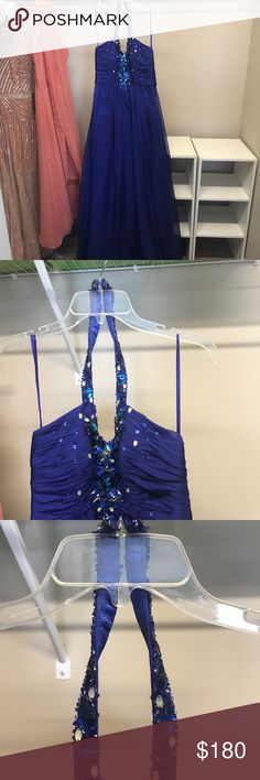 Prom Dress Gorgeous blue halter prom dress. Worn once in great condition! Beautiful detail in the beading! Dresses Prom