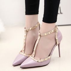 Pointed Toe T-strap 10 cm High Heel Sandals - Pink