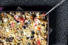 Baked eggplant, orzo, mozzarella (from Smitten Kitchen)