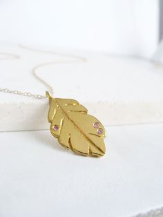 Gold Feather Pendant ❁ Pink Sapphire Necklace @LiliKleinJewelry