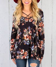 Look at this Luxe Couture Navy Floral Tunic on #zulily today!