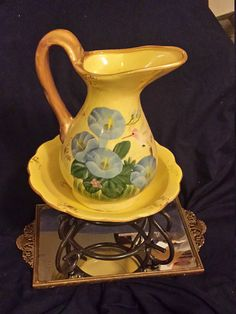 Vintage Pitcher Wash Basin Sits on a Cast Iron Stand Yellow @DWedgeCreations​  #PitcherWashBasin #VintagePitcher  #VintageWashBasin  #CeramicPitcher  #CeramicWashbasin  #Hummingbird  #PitchergoldHandle #WashBasinPitcher  #CastIronStand  #WashBasinandStand  #PitcherWithStand  #DWedgeCreations  #CeramicPitcherBowl #VanityPitcherWashBasin #fashion #etsy #etsyshop