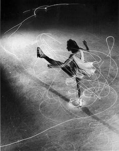 la-journee: Gjon Mili - Figure Skating, Figure skater Carol Lynne's movements charted by flashlights imbedded in each boot. New York 1945 (LIFE Archive) Movement Photography, Dance Photography, Sequence Photography, Light Painting Photography, Gjon Mili, Le Vent Se Leve, Light Trails, Ice Skaters, Ice Dance